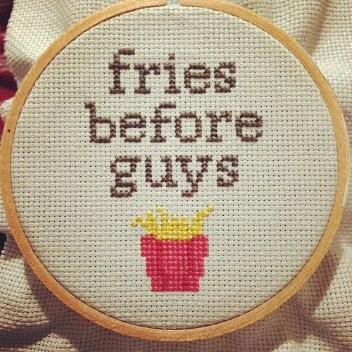 fries before guys cross stitch