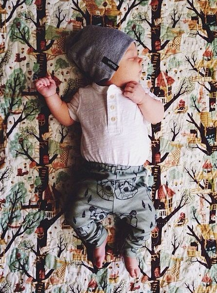 Adorable newborn in the Signature Heathered Gray Slouch Beanie from Slouch Headwear