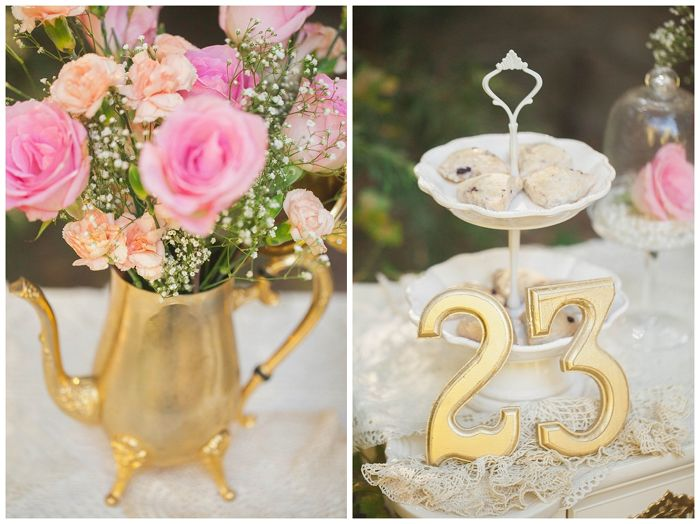 """Party Feature: """"Tea for 23″ Birthday Party. Vintage tea party with soft colors, perfect for a 23rd birthday with your besties! #tea #party #vintage"""
