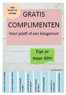 Op de website klasvanjuflinda.nl staat een leuke complimentenposter voor in de klas. Handig wanneer de kinderen het moeilijk vinden om zelf complimenten te bedenken. Om het meer van de kinderen te laten zijn kun je van een a4tje zelf een poster maken en de kinderen de complimenten laten bedenken. Delen: