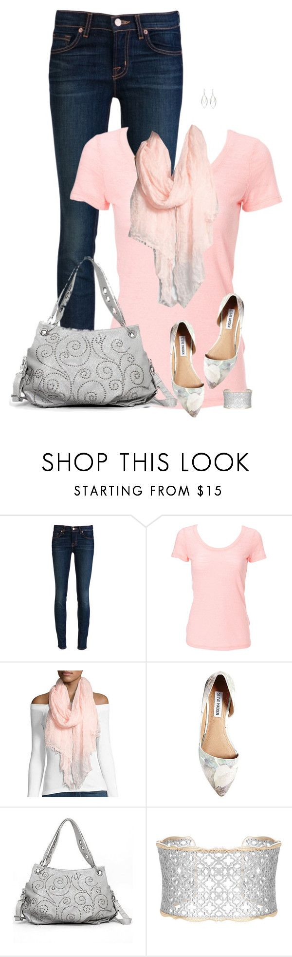 """""""Pink T-Shirt and Jeans"""" by daiscat ❤ liked on Polyvore featuring J Brand, Simplex Apparel, Neiman Marcus, Steve Madden, Sophisticated Style and Kendra Scott"""