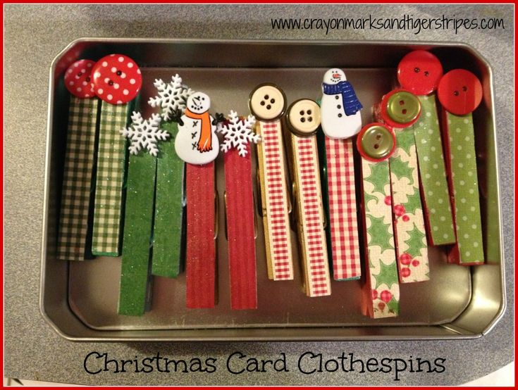 Christmas Card Clothespins