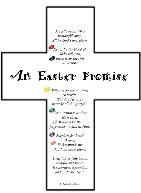 We will do this in Powersurge and Crosstown on Easter Sunday. We will give the poem and 2 bags of jelly beans to each kid. They can eat each color as we read the poem in class then take a bag home to share the story of Easter with a friend.