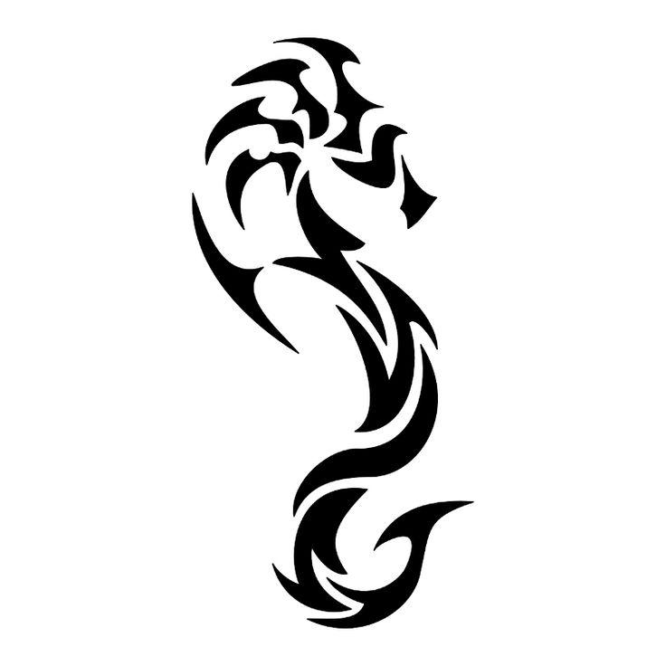 Tatuaggio di Cavalluccio marino tribale, Pazienza e tenacia tattoo - custom tattoo designs on TattooTribes.com