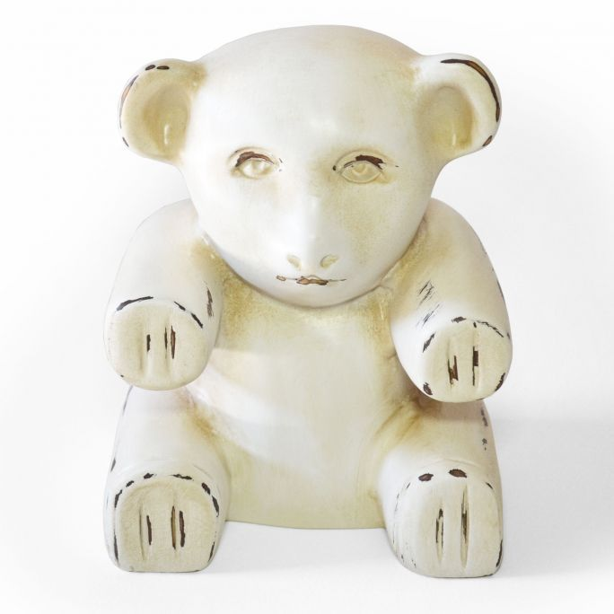 Doorstop teddybear of Art.Intaglio  Hand carved statue of a teddybear made of Jelutong wood. Antique white lacquer with details in aged walnut.
