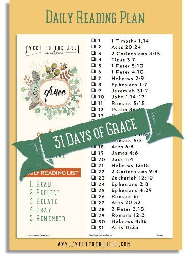 Sweet To The Soul Ministries - 31 Days of Grace, a new reading plan and Bible study ideas for March.