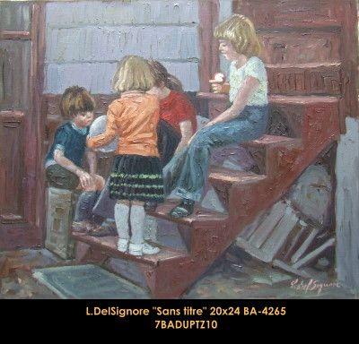 Original oil painting on canevas by Littorio Del Signore #Littoriodelsignore #artist #canadianartist #quebecartist #art #fineart #figurativeart #originalpainting #oilpainting #kids #icecream #balcondart #multiart