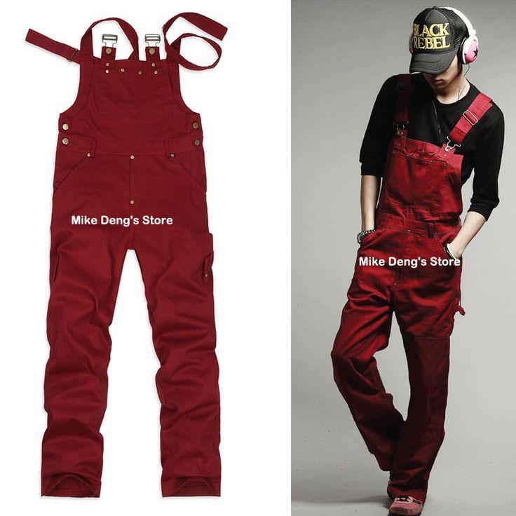 2014 spring summer korean style fashion mens black font b red b font loose rivet font dungaree. Black Bedroom Furniture Sets. Home Design Ideas