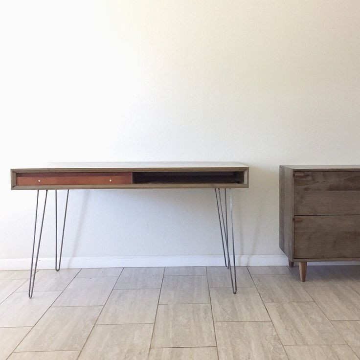 """52"""" Hand-Made Hard Maple Desk with Hairpin Legs & Optional Matching File"""