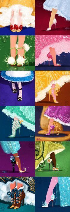 Disney Shoes   Snow White, Cinderella, Tinker Bell, Aurora, Alice, Bell, Ariel, Rapunzel, Jasmine, Tiana, Anna, And Elza