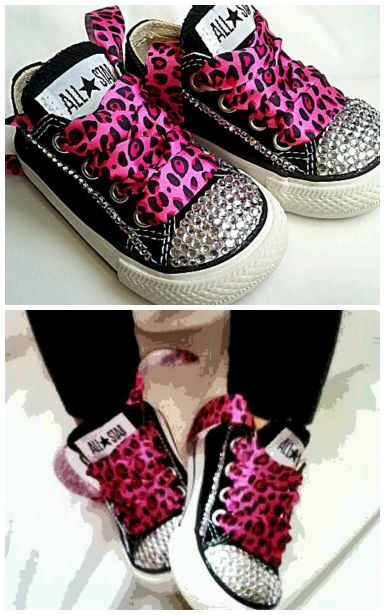 rhinestone converse toddler girl shoes with pink leopard ribbon laces.. Only time I've seen cute converse!!