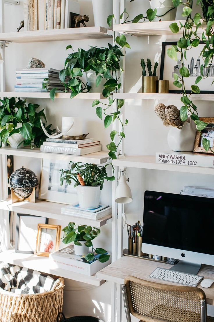 I N S T A G R M White And Greenery Bohemian Office Filled With Plants Natural Materials Like Wood