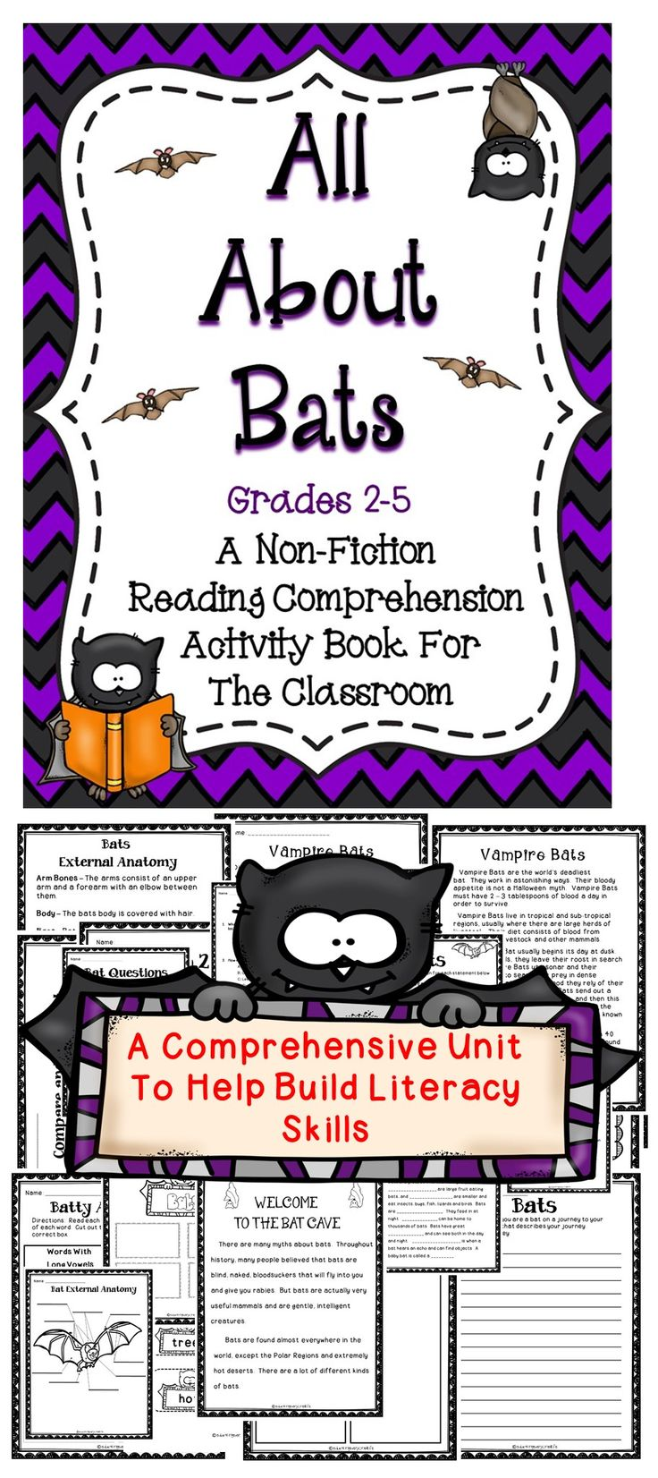 All About Bats - A Reading/Language Arts Fun Filled Activity Book That Supports The Common Core Standards.  #tpt  #bats #reading