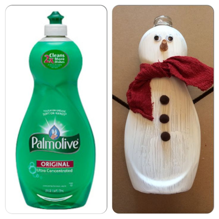 Totally cute up-cycled snowman from an empty Palmolive bottle #PalmoliveWM #ad