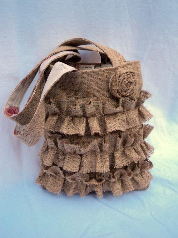 Burlap Purse Ruffled Tote French Market Bag