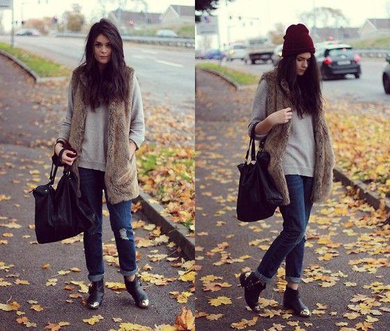 Primark Boyfriend Jeans, Zara Faux Fur Vest, Stradivarius Bag