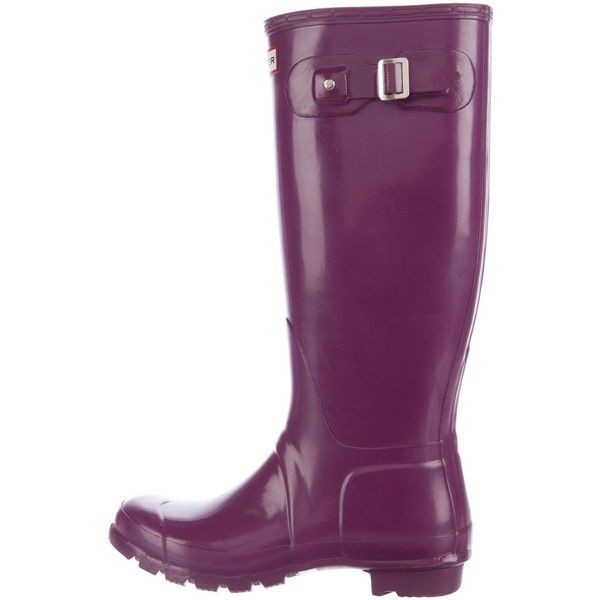 Pre-owned Hunter Knee-High Rain Boots (62.540 CLP) ❤ liked on Polyvore featuring shoes, boots, purple, round toe boots, rubber boots, rounded toe boots, knee high rubber boots and wellington boots