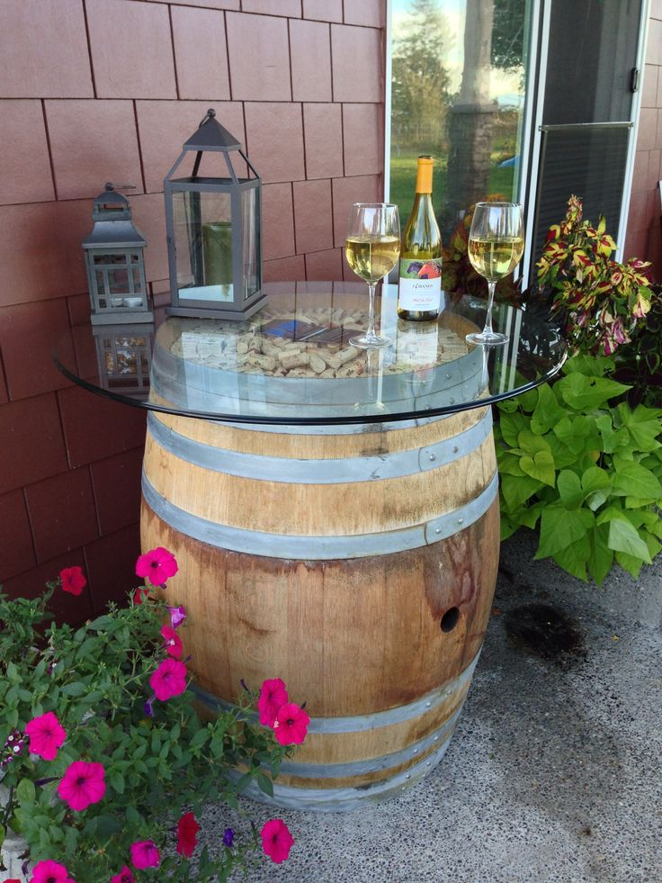 Wine Barrel U0026 Cork Creation For Outdoor Table. Purchased Pier 1 Imports  Glass Table Top