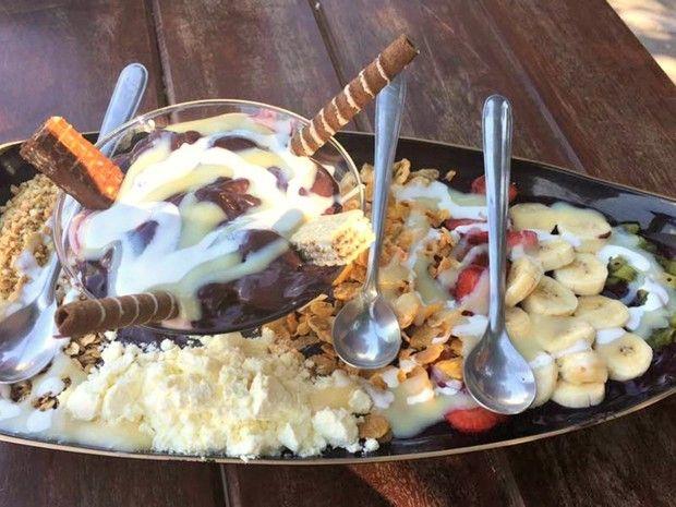 Barca de açaí é vendida em sorveterias de Rio Branco e custa de R$ 20 a R$ 30 nos tamanhos pequeno, grande e mega (Foto: Reprodução/Facebook)
