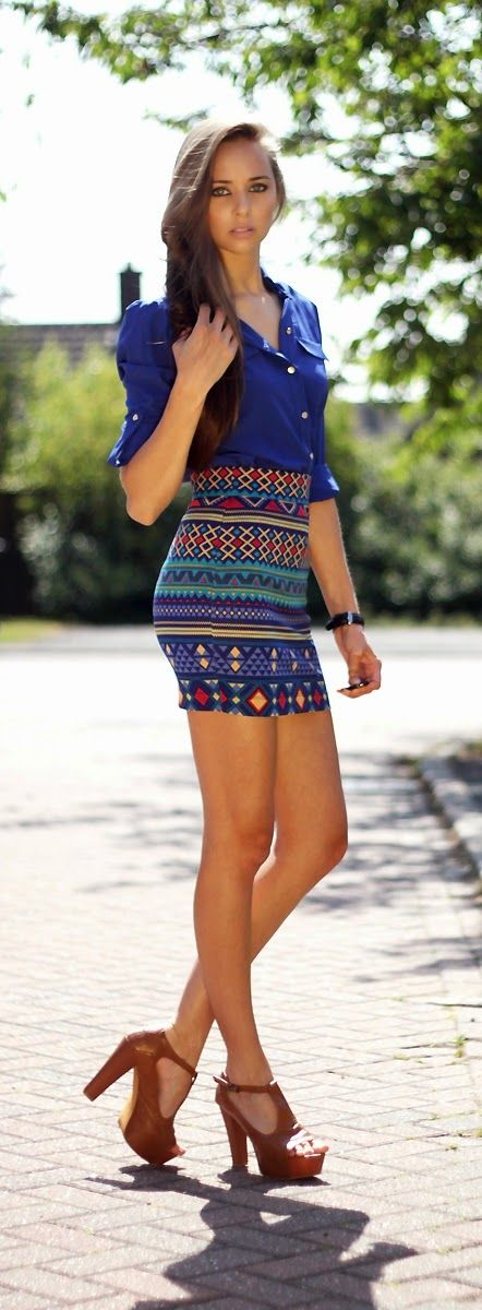 Royal Blue Button Up Shirt with Aztec High Waist Skirt and Sexy Pumps | Summer Outfits