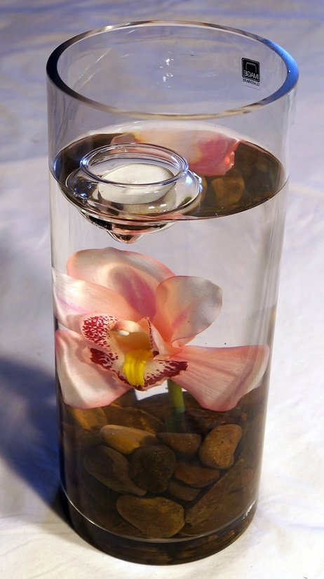 Tall Vase with Brown Rocks & Pink Orchids + Floating Candle - $35.00