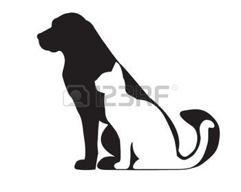 vet: Silhouette of black dog and white cat isolated on white