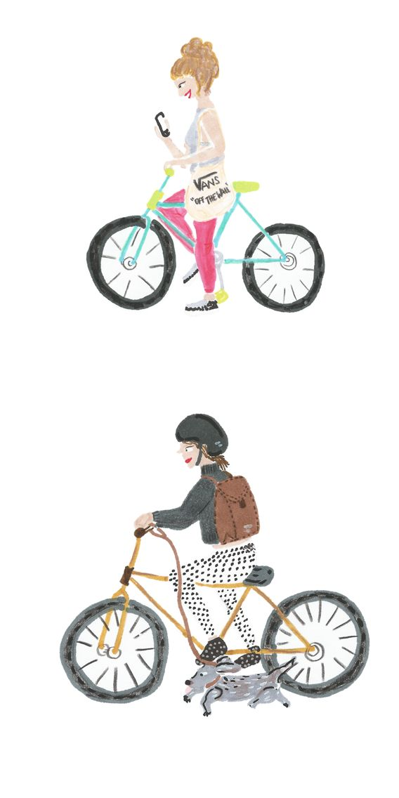 Cool girls riding their #bikes. #Illustration by Francisca Feuerhake