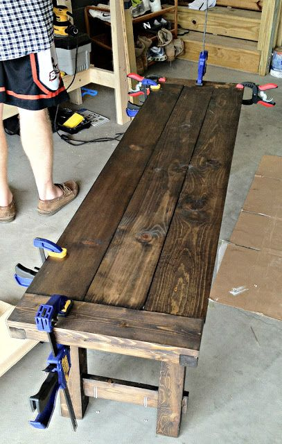 diy benchright farmhouse bench make a larger one to make a rustic dining room table