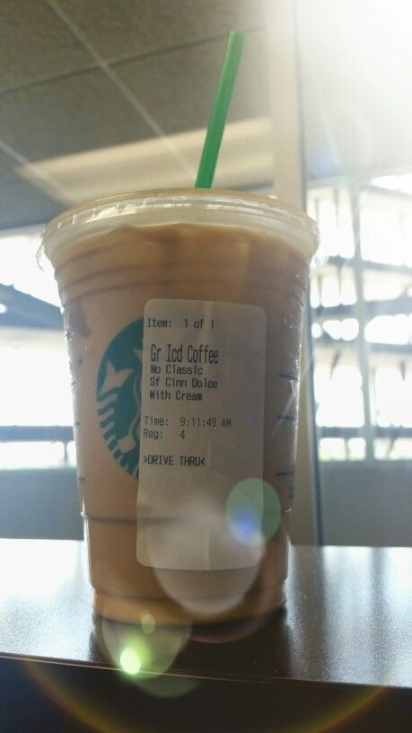 Low Carb Starbucks drink OF LIFE! Iced Coffee with cream and Sugar Free Cinnamon Dulce Syrup.