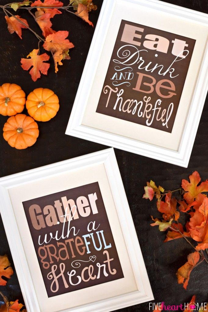 """Thanksgiving Quote Free Printable ~ """"Gather with a Grateful Heart"""" 