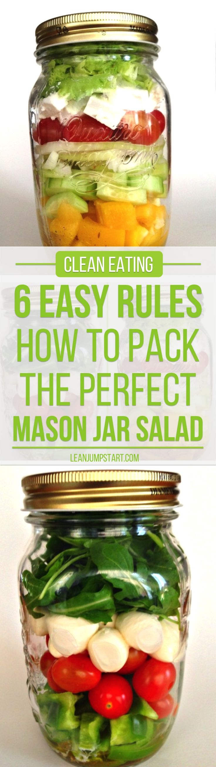 A mason jar salad offers a wonderful, time saving way to prepare a tasty, clean eating meal that can last up to five days. Click through!