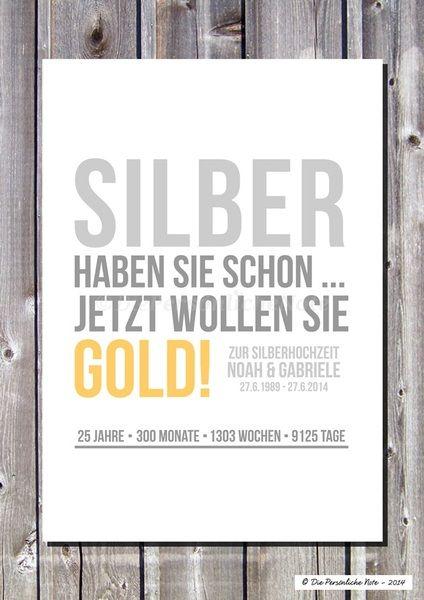 Druck/Wandbild: Geschenkidee zur Silberhochzeit von Die Persönliche Note auf DaWanda.com