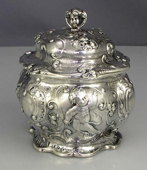 Antique Gorham Sterling Tea Caddy, circa 1893 - via Silver Perfect