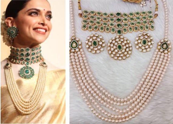 Deepika Padukone Wedding Reception Jewellery Inspired High Glazed Silver Foil Polki Kundan Emerald Bollywood Jewelry Wedding Jewelry Sets Indian Jewelry Sets