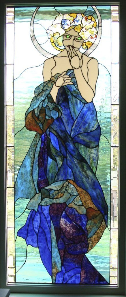 "Alphonse Mucha Moon and Stars 27.5 x 68.5"" Stained Glass Pattern  Artist Ruth Green"