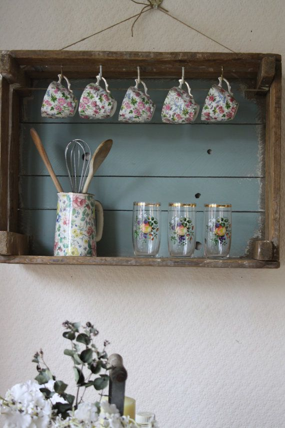 Upcycled Vintage Pine Fruit Crate Shelf                                                                                                                                                                                 More