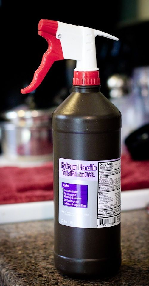55 Must-Read Cleaning Tips and Tricks - put a spray top on a hydrogen peroxide bottle. This stuff makes for an amazing household cleaner.