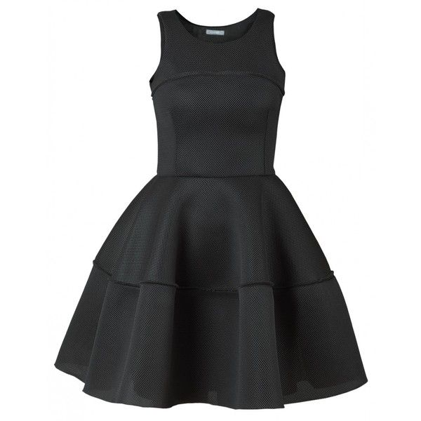 Manifiq&Co. Skater Dress (675 RON) ❤ liked on Polyvore featuring dresses, vestidos, black, zip dress, dressy dresses, perforated dress, fancy black dresses и fancy party dresses