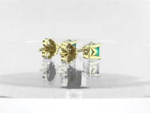 Emerald stud earrings in 18K gold and emerald cut natural emeralds E-TIU-062 by www.GreenInGold.com #earrings #emeralds