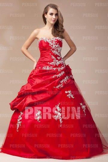 robe rouge mari e bustier c ur orn e de fleur et dapplique robes coeur d 39 alene and ps. Black Bedroom Furniture Sets. Home Design Ideas
