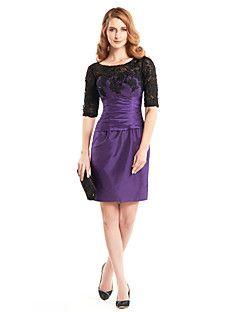 Lanting Bride® Pouzdrové Šaty pro matku nevěsty Ke kolenům Poloviční rukáv Krajka / Taft - Krajka