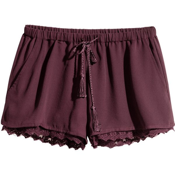 H&M Shorts with a lace trim ($23) ❤ liked on Polyvore featuring shorts, bottoms, short, pants, plum, lace trim shorts, hot shorts, h&m, micro shorts and mini short shorts