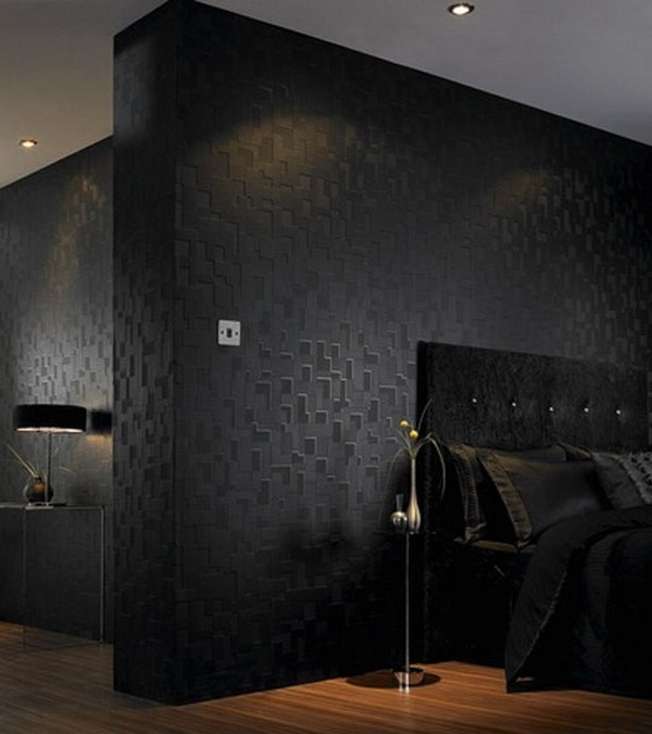 Bedroom Design with Black Textured Wallpaper Picture