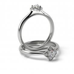 Inel de logodna cu diamante Suave din aur alb