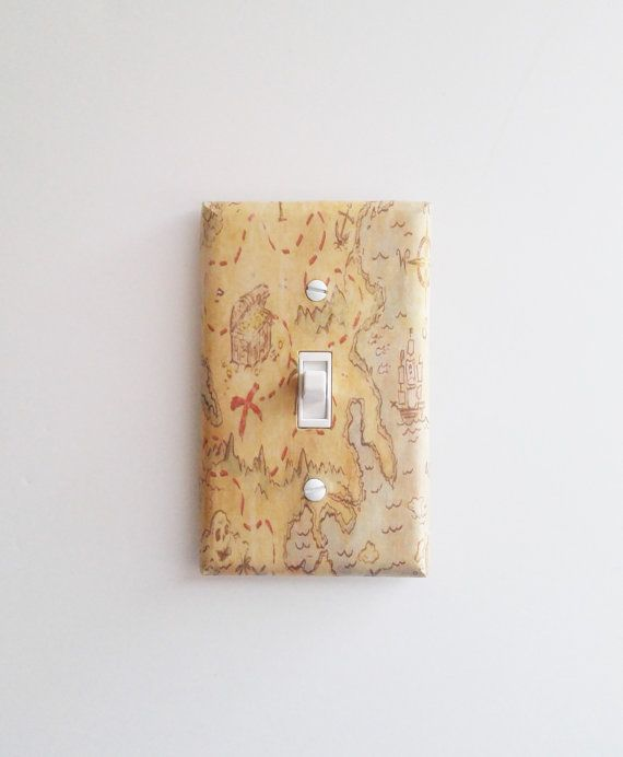 Pirate Map Light Switch Cover, Treasure Map, Pirate Room Decor, Pirate Nursery, Treasure Map Wall Art, Boy's Bedroom, Pirate Bedroom