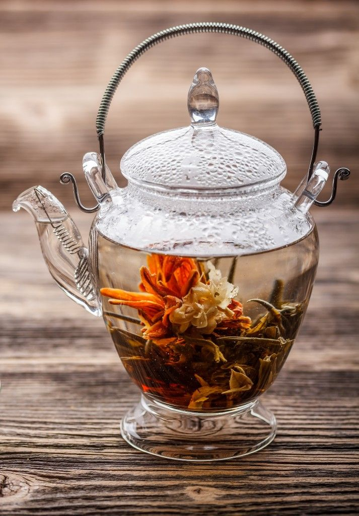 blooming / flowering tea in a clear glass teapot