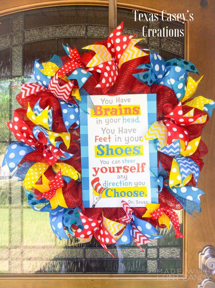 Dr. Seuss wreath https://www.etsy.com/listing/276467772/dr-seuss-wreath-teacher-wreath-classroom