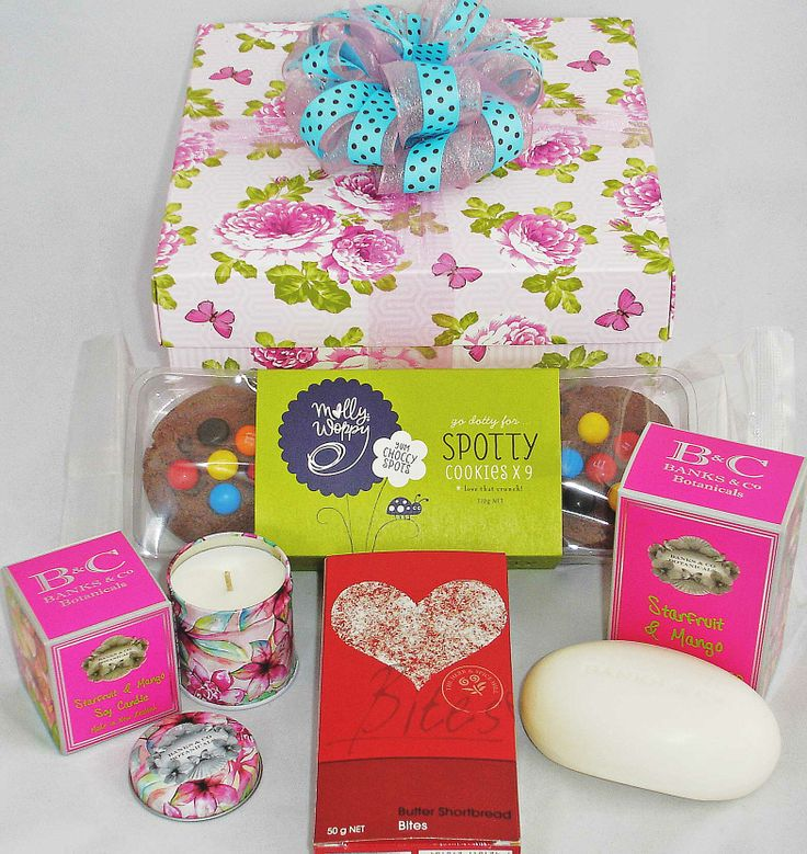 Gorgeous gift for Mother's Day, birthdays, corporate thank-you gift, any occasion.  Gift Box with scented soy candle - I love this - smells divine, scented soap, chocolate cookies, shortbread. Gifts beautifully wrapped in tissue inside gift box. Couriered in NZ. $50 + small courier charge. Visit our website to view more gift boxes. #Mothers-day-gifts