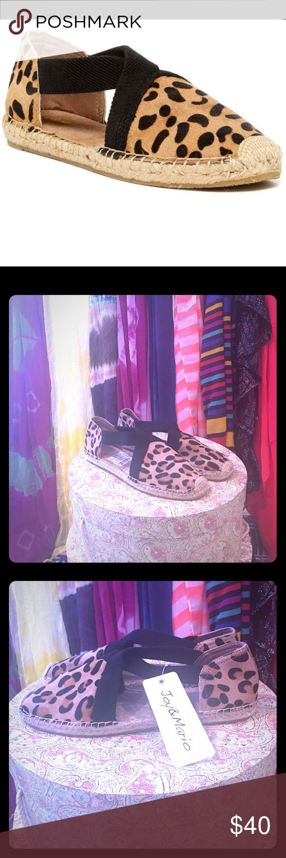 Joy & Mario Leopard Espadrilles These Joy & Mario Espadrilles are new with tag. They are truly lovely. The shoe is leather, with the exception of the straps and the trademark espadrilles soles. The leopard print is calf hair. Joy & Mario Shoes Espadrilles