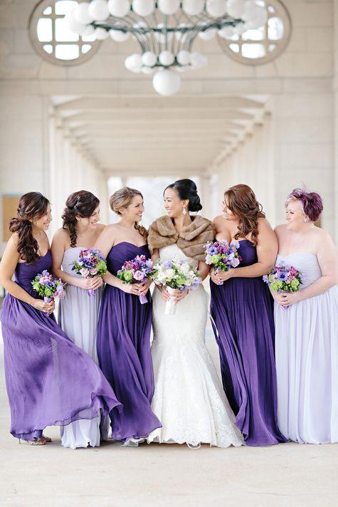 Mismatched Purple Bridesmaid Dresses | Lisa Hessel Photography | Theknot.com